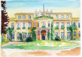 <strong>Wannsee Conference House</strong>Watercolor, 18 x 13 cm, 2003